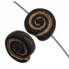 Glass Bead Swirl Black Matte Gold Painted Strung 12x11mm